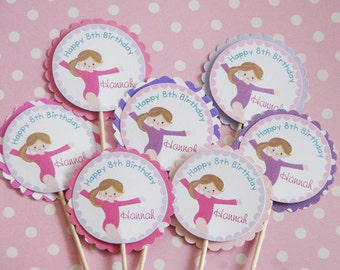 Gymnastics Cupcake Toppers Pinks and Purple Chevron Pattern and Polkadots Tumble Party