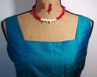 Natural AAA Grade Quality Red and White Sea Coral, 925 Silver Necklace and Earrings