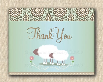 Little Lamb Thank You Note Card - 12 folded cards with envelope