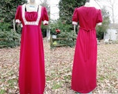 70s Prom Dress - Vintage Dress - 70s Costume -Double Knit Dress - 70s Dress in Maroon with Lace Trim by Pommy Jrs. US Size 6