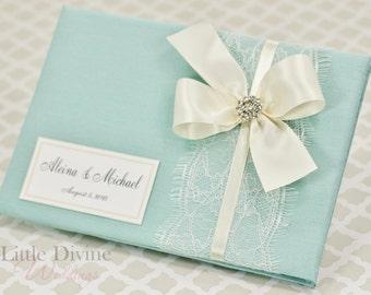 Wedding Guest Book Aqua Blue Custom made in Your Colors