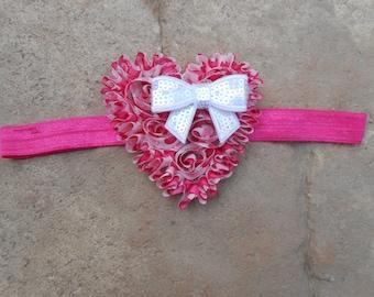 Pink heart shabby chic chiffon heart headband white sequin bow infant toddler girls headband