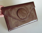 Vintage Harry Levine HL mod chocolate brown patent vinyl clutch evening bag - fold-over flap with button accent - Retro Mad Men Mid-Century