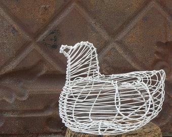 Vintage metal wire egg basket