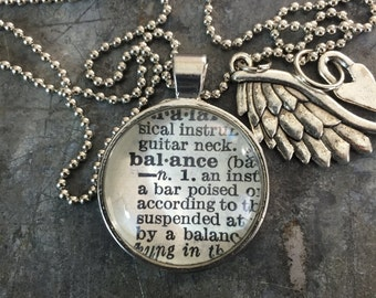 One Word Necklace with Charms- Balance
