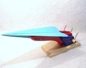 X-7 Goliath. Paper Airplane and Glider Launcher - Red, Blue, Gloss Redwood Base