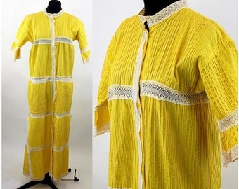 1970s Mexican dress yellow white pintucked lace inserts robe long dress Size S