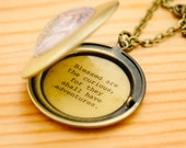 Blessed are the curious, for they shall have adventures - Women's Locket - Graduation Necklace, Travel Jewelry