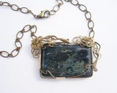 Moss Agate and Brass Wire Wrapped Necklace