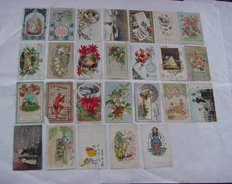 27 Antique Postcards Greetings Christmas New Year Easter Embossed Lot