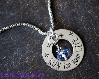 Jewelry for Runners, Run For Your Life- Necklace, Hand Stamped Runner's Necklace, Fitness Jewelry, Motivational Jewelry