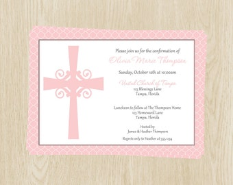 Religious Cross Invitations for Christening, Baptism, First Communion, or Confirmation ,Set of 10 Printed, Quatrefoil Cross Girls