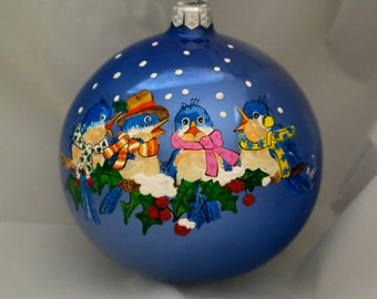 Hand Painted Ornament-4 Blue Birds-Item 845