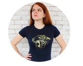 Roaring Tiger Graphic Tee Shirt, Short Sleeved LADIES FITTED Tshirt, Hand Screenprinted, Gold Ink On Navy T, Zoo Animal, Circus Party Top