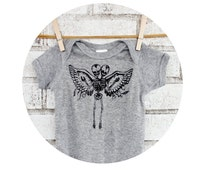 Baby Onepiece Printed With Conjoined Twin Skeleton with Wings, Baby Siamese Twins, Freak Show, Circus Side Show, Hand Screenprinted, Oddity