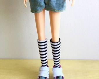 Blythe Long Sock, Black and White Stripe, Vintage Inspired