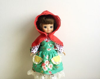 """Tiny Betsy Mccall 8"""" Doll Dress set ,Long Sleeve shirt , Lace Trim Skirt with Apron and Hood ,Vintage Inspired, Green Flower Fabric 5 pieces"""