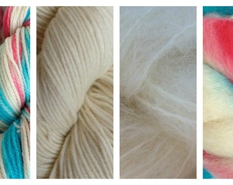 Hand Dyed Samples of Merino Wool DK Sport Weight Yarn in Circus Tent Red White Aqua