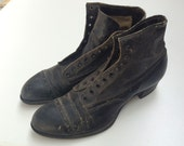 Antique Victorian Era Goodyearwelt Black Leather Boots- Size 5