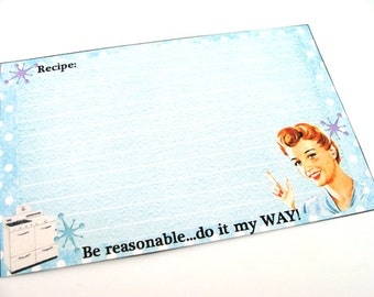 Atomic Recipe Cards , Set of 12 , Retro Recipe Cards , Blue Recipe Cards , Funny Recipe Cards , 1950s Housewives -  Blue Kitchen