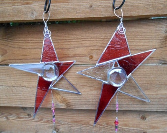 Stained Glass Stars with Prism (2)- Pink - Suncatcher - Celestial - Christmas - Birthday - Gift