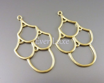 2 matte gold brass metal delicate chandelier pendants, diy jewelry making supplies, craft supplies 927-MG (matte gold, 2 pieces)