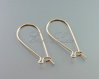 10 Shiny rose gold medium kidney earwires earrings for jewelry making, craft supplies B025-BRG-MED