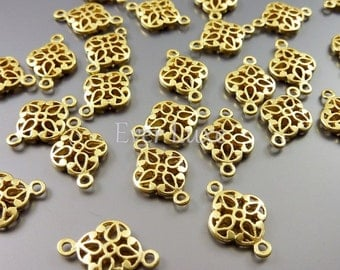 4 small floral filigree jewelry connectors, matte gold filigree findings, jewelry / jewellery supplies 1863-MG (matte gold, 4 pieces)
