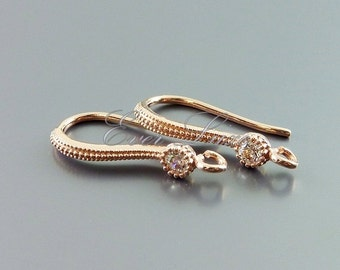 2 CZ cubic zirconia accented earrings in rose gold finish, rose gold jewelry 1818-BRG (2 pcs)