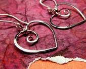 Metalwork Heart Earrings, Sterling Silver, Gold Filled or Solid 14k Yellow Gold - Wire Wrapped Metalwork Charms