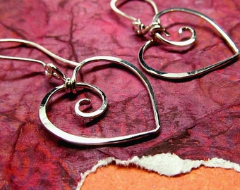 Heart Earrings, 14k Gold, Sterling Silver or Gold Filled - Wire Wrapped Metalwork