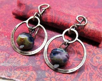 Petite Hoop Dangle Earrings, with Lavender and Blue Czech Glass Beads, Sterling Silver Hammered Metalwork