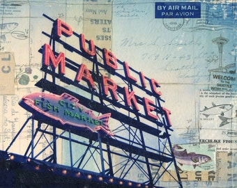 Pike Place No. 1 paper print - Seattle Washington mixed media collage