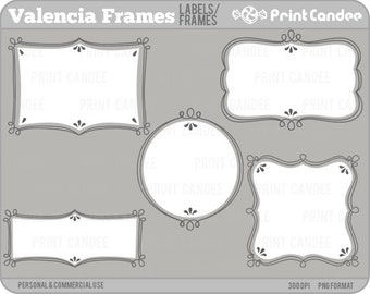 Valencia Frames - Personal and Commercial Use - digital clipart clip art label modern sweet pretty