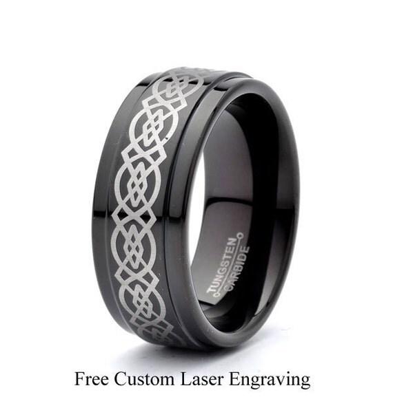 mens black tungsten carbide wedding band engraved celtic design 9mm