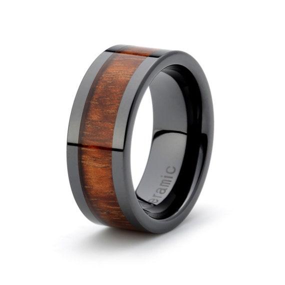 black ceramic ring rose wood inlay 9mm mens wedding band