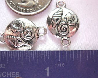Ocean Sea shell Connector Charm Pendant 2 Pieces Tibetan Silver Jewelry Supply