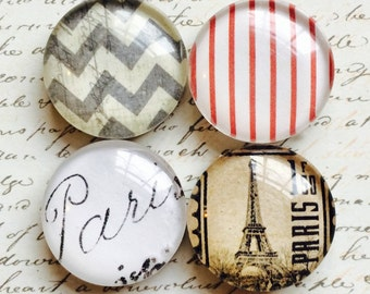 4 Glass Magnets - Decorative Magnets - French Magnets - Eiffel Tower Magnets - Office Magnets - Refrigerator Magnets - Round Magnets