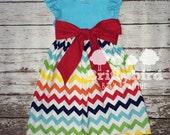 Ready to Ship Girls Rainbow Chevron Size 5 Dress