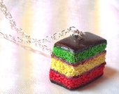 Polymer Clay Italian Rainbow 7 Layer Cookie / Cake Charm - Cute Necklace - Faux Dessert Jewelry - Fun & Unique Italy Food
