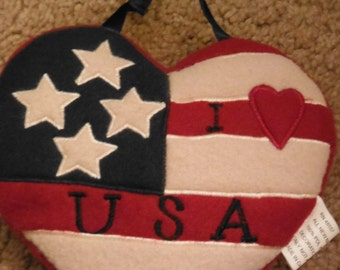 USA Hanging Heart Pillow ...Ex Cond--HARD Find