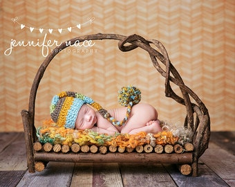 Elf Hat in Aqua, Pumpkin, Taupe, and Sweet Pea with Braided Tail