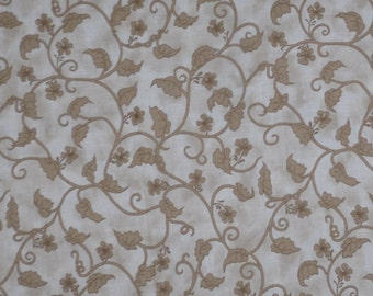 Fancy Gold-Bronze Leaf Vines Leslie Beck for Cranston Fabrics Classic Quilting Cotton Fabric By The Yard