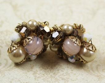 Vintage 1950s Vendome Beaded Gold Cluster Clip On Earrings