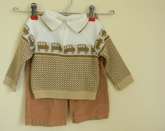 Vintage Baby's Two Piece Sweater and Pants Set - Size 12 Months