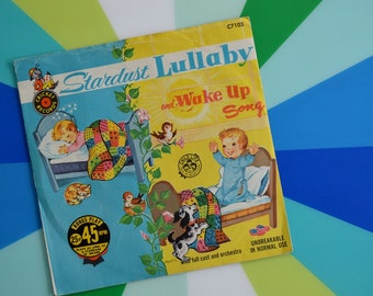 Vintage Children's 45 RPM Record Album - Stardust Lullaby and Wake Up Song