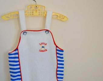 Vintage Terry Cloth Romper with Baseball Themed Embroidery - Size 12 Months