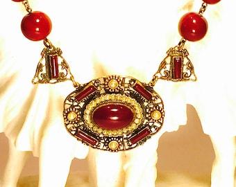 Beautiful Art Nouveau Carnelian Art Glass Pearl Brass Antique Vintage Necklace