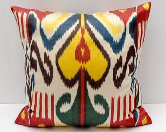 20x20 ikat pillow cover, green red yellow blue multicolor pillow cushion cover, pillowcase, throw pillow, accent pillow, cushion case