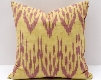 15x15 yellow burgundy ikat pillow case